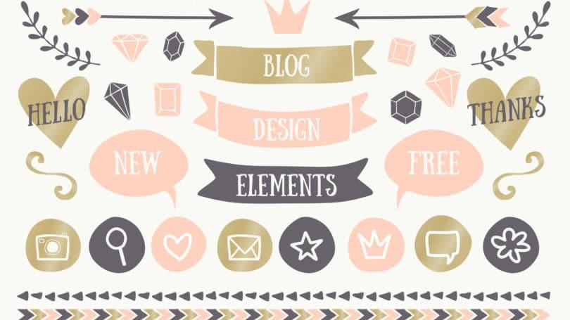 Elementos de diseño gráfico del tema del blog