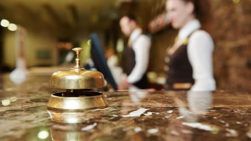 Mostrador de recepción de hotel de lujo Campana de registro